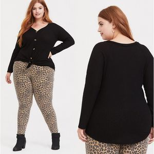 Torrid Waffle Knit Button Front Long Sleeve Tee 0